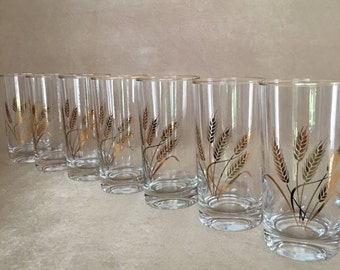 Gold Wheat Barware, Homer Laughlin, Golden Wheat, Mid Century Bar, Gold Trim, Tumblers, Highball, Bar Glass, Vintage Hollywood, Glamour Bar