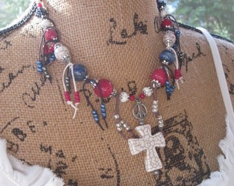 Bohemian Beaded tassel necklace red white blue necklace gypsy necklace boho accessories white stone cross peace sign Game Day red & blue fun