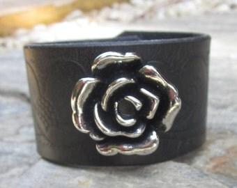 bohemian bracelet leather cuff bracelet black leather cuff bracelet silver flower bracelet boho full grain embossed leather