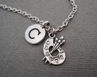 Artist Paint Palette Necklace, Paint Brushes Keychain, Personalized Paint Palette Bangle Bracelet, Initial Necklace, Monogram Charm Necklace