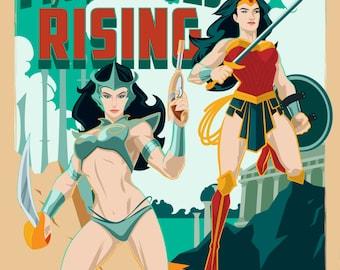 Modern Mythological Mash-up, Dejah Thoris and Wonder Woman Poster