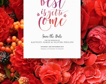 Wedding Save The Date Card Invite Single-Sided Printed Diy Printable Digital File Only — The Kaytlyn Collection  — Quote No.02