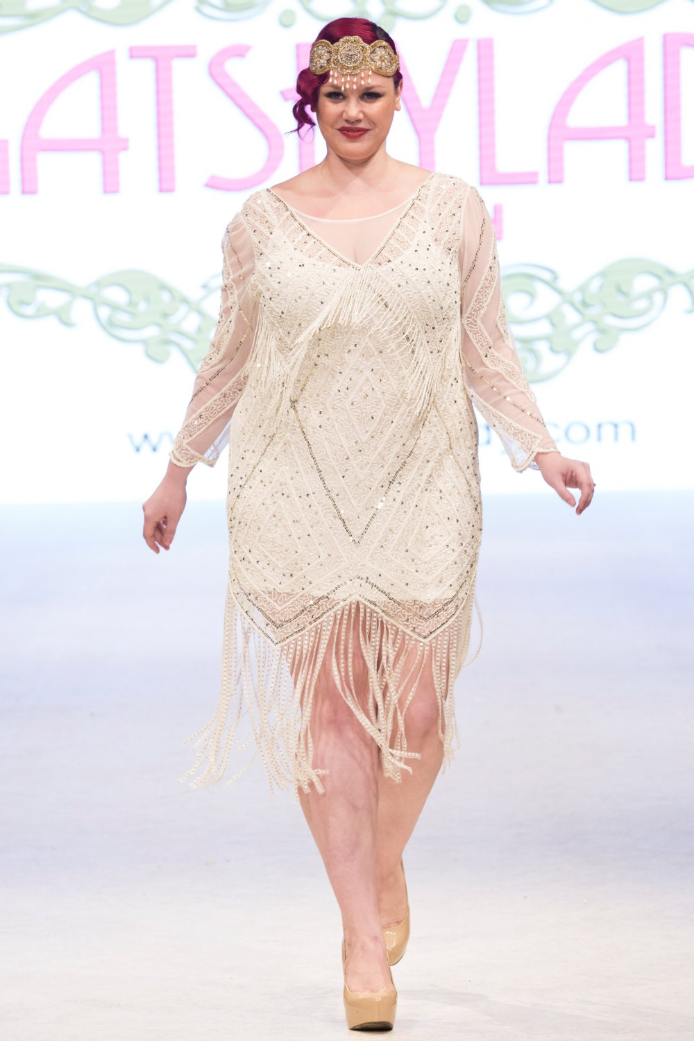 Plus Size Betty Ivory Gold Fringe Dress With Sleeves With Slip 20s