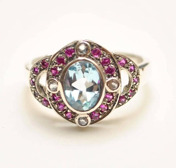 Sterling Silver Antique Style Edwardian Aquamarine Ruby Ring Sz 6  #8648
