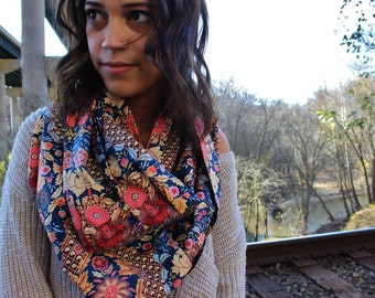 Paisley Lace Infinity Scarf-Floral Neck Warmer, Boho Women's Navy Blue Cream Gold and Pink Loop Scarf