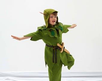 Peter Pan Kids Costume   Complete Peter Pan Costume   boys costume   Peter Pan tunic   Woodland Elf   Captain Hook   Tinkerbell