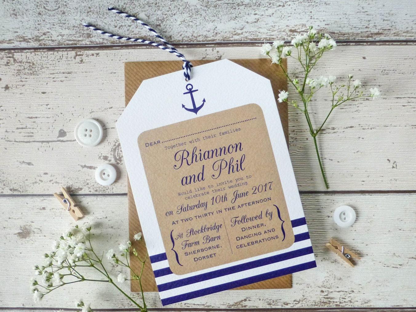Sailboat Wedding Invitations: Nautical Wedding Invitation Tag Seaside Wedding Rustic
