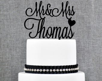 Last Name Cake Topper, Mr and Mrs Cake Topper, Custom Wedding Cake Topper, Elegant Wedding Cake Topper, Calligraphy Cake Topper - (T379)