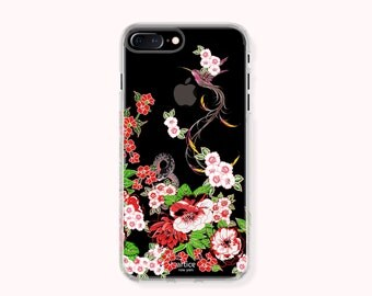 iPhone 7 Case,iPhone 7 Plus Case,iPhone 6/6S Case,iPhone 6/6S Plus Case,iPhone 5/5S/SE Case, Galaxy S8/S8Plus Case- Hummingbird & flower