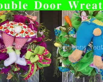Double Door Easter Wreaths, Double Door Spring Wreaths, Front door Wreaths, Wreath for door, Door Hangers, Easter Decor