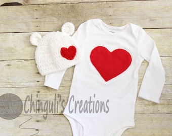 Baby Valentines Outfit Baby Crochet Polar Bear Hat with Crochet Heart Applique Bodysuit with Heart Applique Valentines Boys Hay and Bodysuit