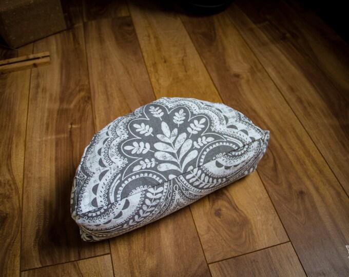 Crescent meditation cushion  Tree of life gray travel half moon zafu buckwheat pillow by Creations Mariposa C-AVG