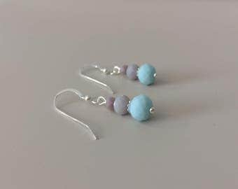 Pastel Blue Grey Earrings - Pastel Dangles - Bridesmaid Earring - Wedding Jewelry - Bridesmaid Jewelry - Pastel Earrings - Mom Gift