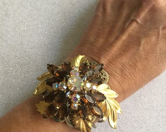 Wrist Corsage, Bracelets, Women's Bracelets, One Of A Kind, OOAK, Repurposed, Upcycled, Statement Bracelet, Prom Jewelry, Wedding Bracelet,