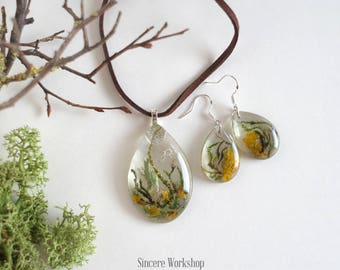 Forest jewelry set Earrings lichen moss jewelry terrarium necklace dried flowers drop earrings resin botanical jewelry nature enchanted gift