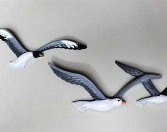 Hand Painted Seagull's Vintage 1980's HOMCO Home Interiors Syroco