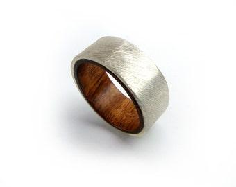 Mopani Wood Ring, Exotic Jewelry, Sterling Silver Ring, Aquarium Driftwood, Fish Aquarium, Hardwood Ring, Silver Ring