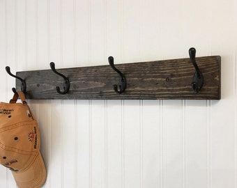 Wall Coat Hooks rustic wood coat rack wall mount with 3 coat hooks entryway