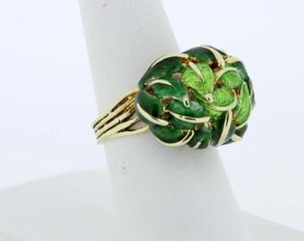 14K Yellow Gold Enamel Leaf Ring