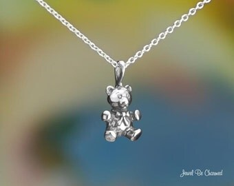 Sterling Silver Sweet 3D Teddy Bear Necklace or Pendant Only Solid 925