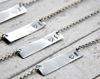 Custom Necklace - Bridesmaid Gift - Personalized Necklace - Initial Necklace - Initial Bar Necklace - Name Necklace - Best Friend Gift