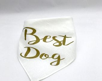 Best Dog Wedding Pet Bandana Gold Dog Collar for Engagement Photos Save the Date Bridal Shower