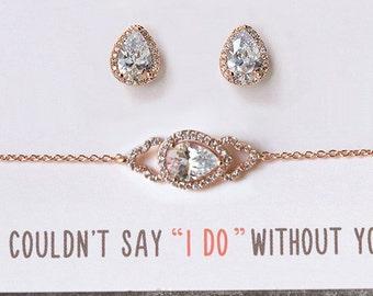 Bridesmaid Bracelet Earring Set Bridesmaid Jewelry Set Tear Drop Earring Bracelet Set Maid of Honor Jewelry Gift Set B160-E331RG