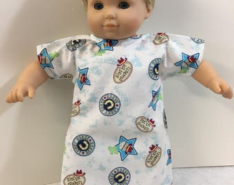"DOLL Hospital Gown ""Cowboy"" -Fits All Dolls -18 inch Dolls, BOY or Girl Bitty Baby Clothes, COWBOYS & Horses -Let's Pretend! Doc McStuffins!"