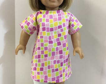 DOLL Hospital Gown - Fits All Dolls, 18 inch Dolls, 15 inch Bitty Baby Clothes - BRIGHT Pink/Green Checks - Let's Pretend Doc McStuffins!
