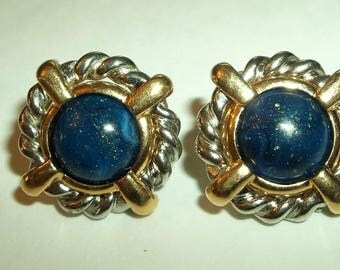 Silver & Gold Tone Omega  Blue cabochon  Post earrings