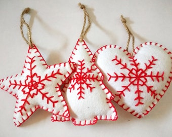 Set of 3 Felt Christmas decorations / ornaments, Star, Christmas Tree and Heart. White and red.