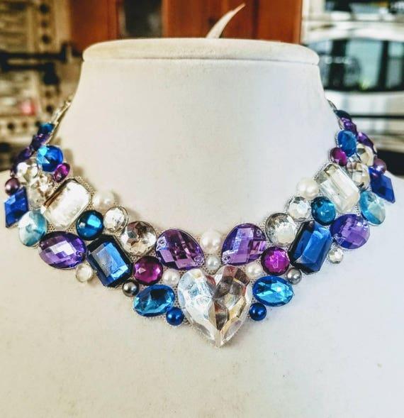Heaven Sunset - rhinestone bling necklace, illusion necklace, rhinestone bib, floating necklace, rhinestone statement necklace