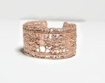 rose gold lace bracelet, Rose gold cuff, Romantic jewelry, Statement bracelet, Pink gold bracelet For small wrist