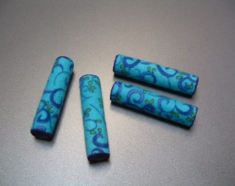 Fiber Textile Beads Blue Flannel Fabric Tube Beads Repurposed Recycled Upcyled Set of 4