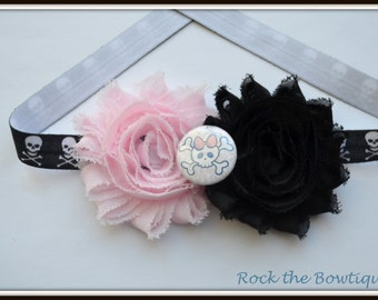 Skull Headband, Punky Headband, Skull and Crossbones Headband, Black Pink Headband for Newborn, Baby, Toddler, Kids, Teens, Adults