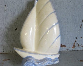 Vintage China Sailboat Wall Pocket / Made in Japan