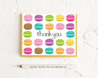 Macarons Cards, Thank You Cards, Thank You Cards Set, Thank You Notes, Stationery Set, Thank You, Wedding, Just Because, Boxed Card Set