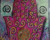 "Now on Clearance. Handmade Hamsa mixed media wall art on 9"" x 12"" canvas"