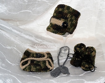Made to Order Camo Outfit (Hat, Diaper Cover, Boots and Dog Tags)