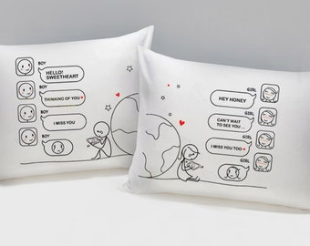 Long Distance Boyfriend Gift, Long Distance Relationship Pillow Covers, Long Distance Couples Gift,Wish You Were Here His & Hers Pillowcases