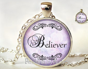 Believer,Necklace,Pendant,Jewelry, Inspirational,Gift,Her,Quote,Gift,Print,Encouraging,Inspiring,Art,Word,Glass,Dome