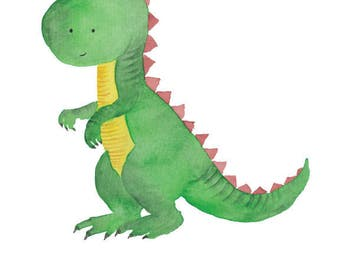 Dinosaur Watercolor Tyrannosaurus rex- Nursery Room or Playroom art print