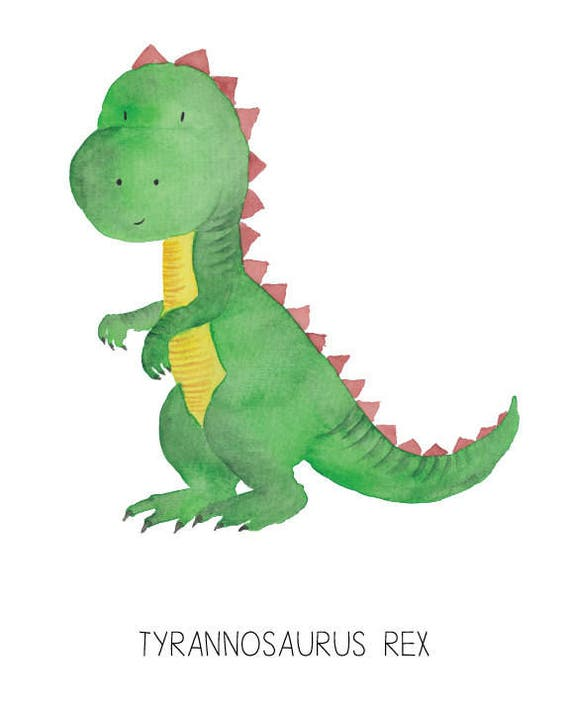 Dinosaur Watercolor Tyrannosaurus rex- Nursery Room or Playroom art print