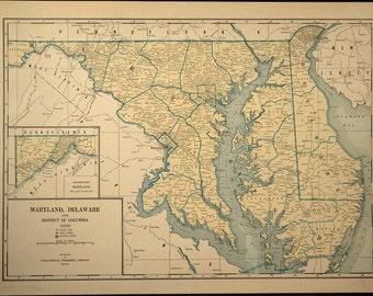 Maryland Map Maryland Delaware Map Vintage 1940s Beige