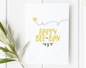 Happy Birthday Bee Day Card | Cute Illustration Bug Children Stationery Greeting Design
