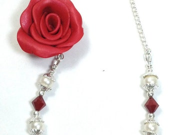 Red Rose Necklace, Pearl Necklace, Pearl Jewelry-Swarovski- Rose Necklace - Red Rose