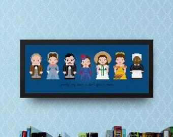 Gone with the Wind Cross Stitch Pattern Modern | Scarlett O'Hara Cross Stitch Charts | Rhett Butler | Clark Gable | Vivien Leigh | Old Movie
