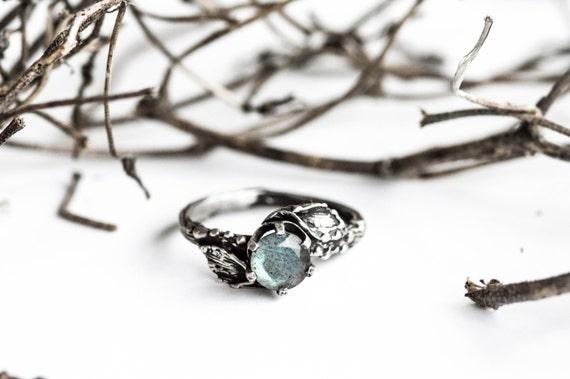 Gloomy labradorite leaf twig engagement ring