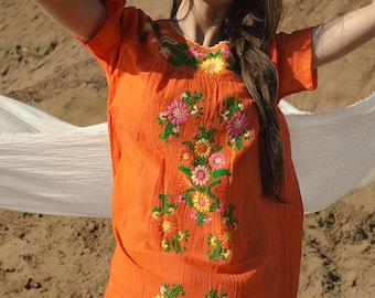 Mexican Beach Dress Orange