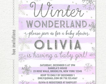 winter wonderland baby shower invitation girl, purple silver snowflake baby shower invitation, winter baby shower invitation, printable file